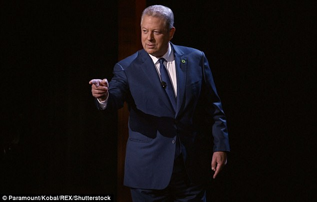 Al Gore has been accused of hypocrisy by a conservative think-tank claiming his estate uses '21 times more energy' than the average American home. Gore is pictured in his new film, An Inconvenient Sequel: Truth to Power