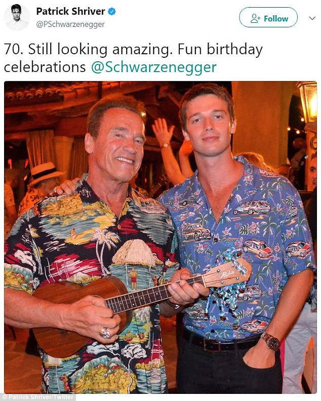 'Still looking amazing. Fun birthday celebrations!' On Sunday, Schwarzenegger attended the luau-themed 70th birthday bash of his famous father, Arnold