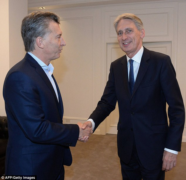The Chancellor (right) met with President Mauricio Macri (left) in Buenos Aires for trade talks during the historic visit. But the matter of the future of the Falkand Islands did not come up