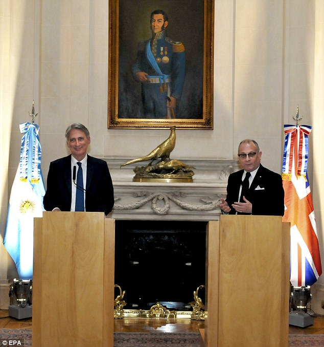 In a 2013 referendum Falklanders voted overwhelmingly to remain a British overseas territory. Pictured: The Chancellor with Foreign Affairs Minister Faurie
