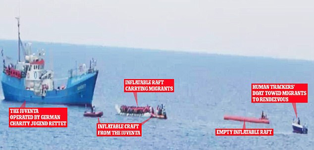 Photographs captured by undercover officers show the criminals 'escorting' vessels packed with asylum seekers before being transferred to aid boats bound for Italy
