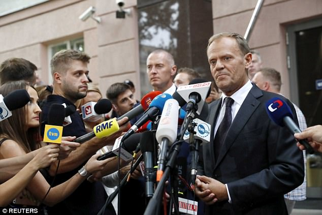 Tusk spoke after testifying at a trail over a 2010 plane crash that killed PresidentLech Kaczynski - Jaroslaw's twin brother - and 95 other senior government figures