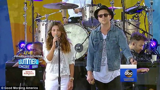 The performance, aired on Good Morning America, was a celebration of the lives of Cornell and late Linkin Park frontman Chester Bennington, both of whom committed suicide earlier this year - within months of each other (Pictured, Toni Cornell, left, and Ryan Tedder, right, perform Hallelujah)