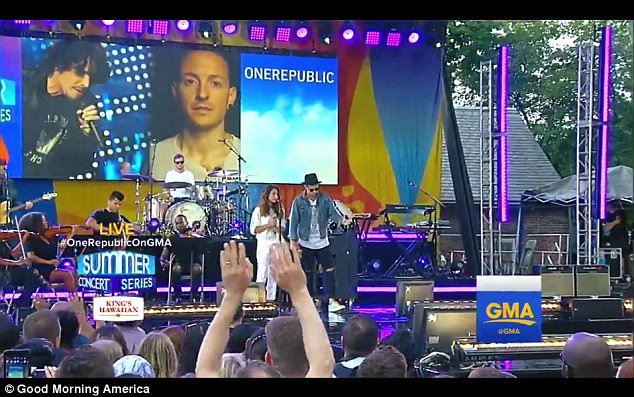 Linkin Park had been scheduled to perform at Central Park on Friday as part of the GMA Summer Concert series, before Bennington's death. One Republic took a detour from their tour to fill in (pictured)