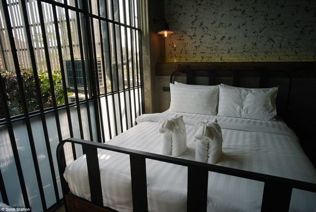 Cosy: In keeping with the cramped surroundings of Thai jails, each room measures just eight square meters
