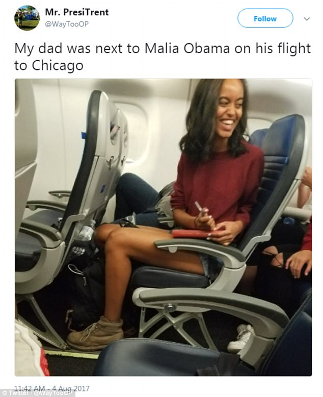 This Twitter user claims that his father was seated nearby the former first daughter as she was flying to Chicago for the festival