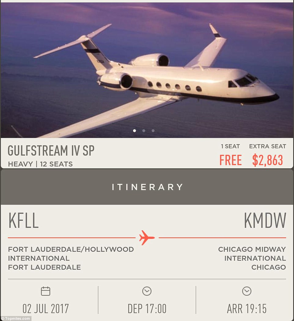 Golden ticket: Huang's itinerary showed that a Gulfstream IV would operate the flight, but a G5 was used instead