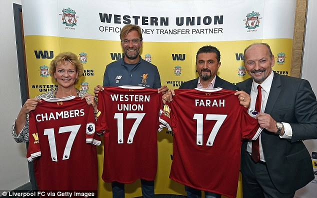 Liverpool  announced Western Union as their shirt sleeve sponsor on Wednesday