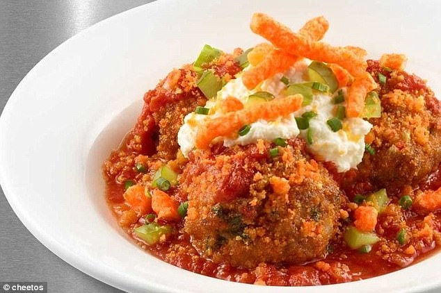 You've never seen meatballs like these before:These meatballs are made from Cheetos, beef, pork and veal. They are served in a  hearty tomato herb sauce and sprinkled with ricotta cheese