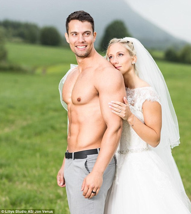 Jon tied the knot with Kathrine last month in Norway where the pair endured a three-hour photo shoot in the mountains to get the perfect shot - and Jon couldn't resist stripping off