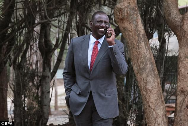 Kenya Deputy President William Ruto speaks to Kenyatta on the phone earlier today