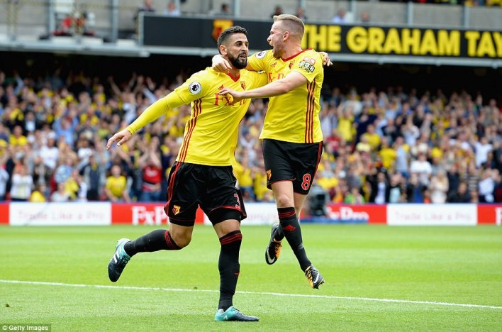 Miguel Britos earned a spectacular draw at Vicarage Road as his injury-time goal sent the game to 3-3
