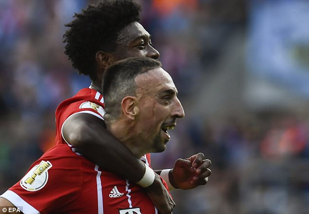 Ribery wheeled away in celebration as Bayern stormed to a 5-0 victory in the German Cup
