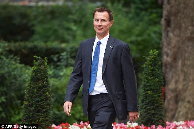 Health Secretary Jeremy Hunt, pictured, has reportedly spent £44,000 of taxpayers' cash on a private bathroom in his new offices