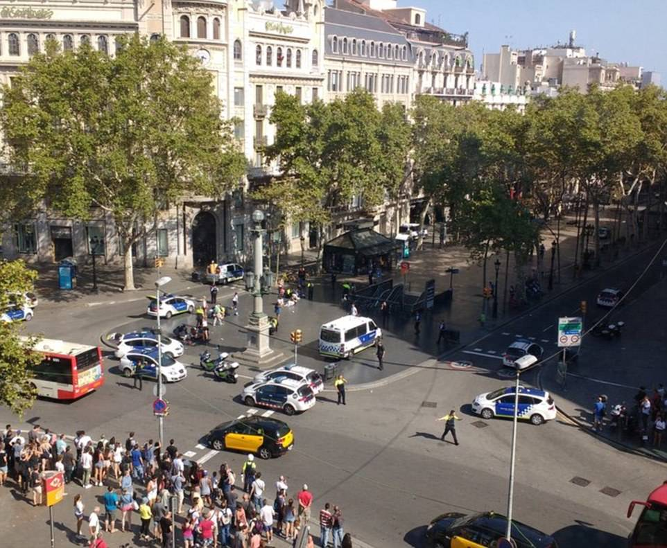 The scene in Barcelona on Thursday as emergency services rush to help after Barcelona was attacked by suspected terrorists