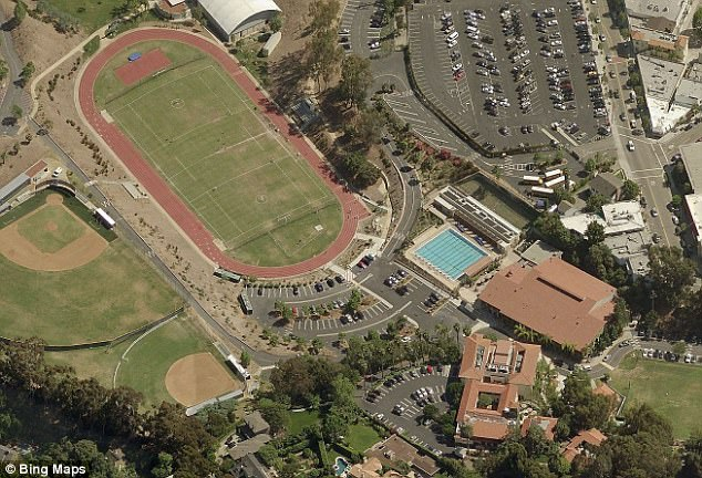 An aerial view of the Brentwood School. Famous alumni include Patrick Schwarzenegger, 23, whose parents are former California governor Arnold, 70, and his ex-wife Maria Shriver, 61, and Maroon 5 frontman Adam Levine, 38
