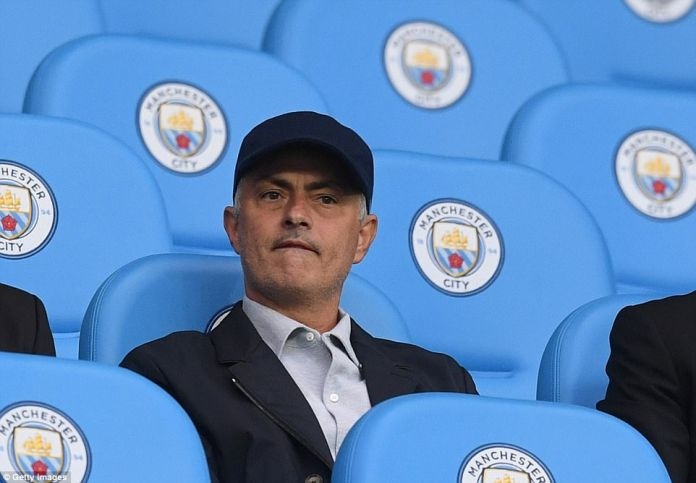 Manchester United boss Jose Mourinho was in the stands at the Etihad, as was Old Trafford legend Sir Alex Ferguson