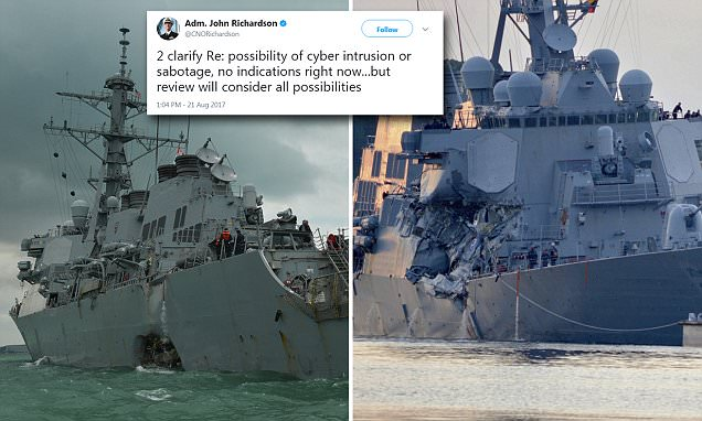 US Navy 'to consider' whether crashed warships were hacked