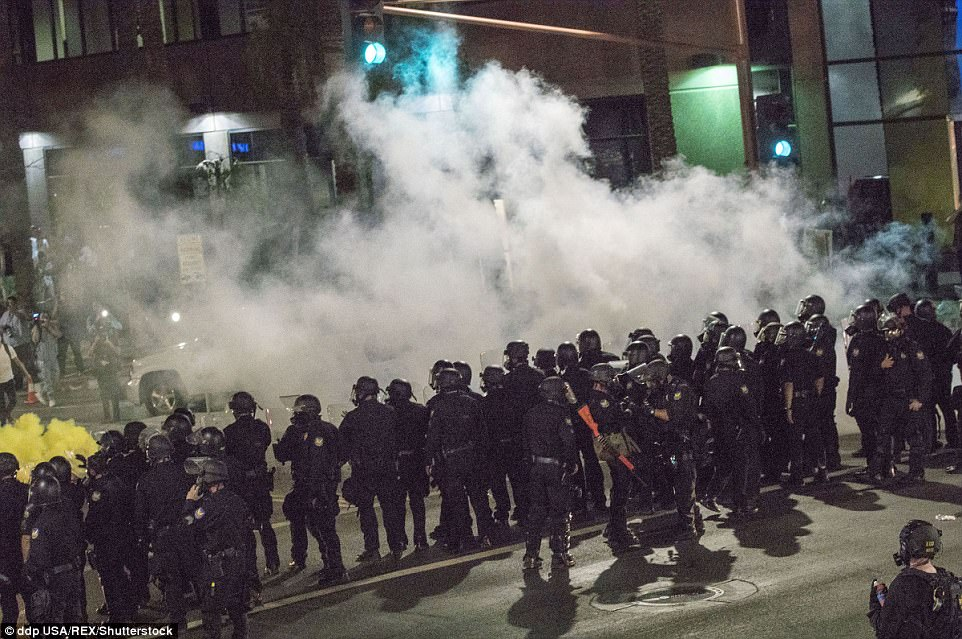 Police have not given an estimate of the number of protesters, but Arizona media said there were several thousand