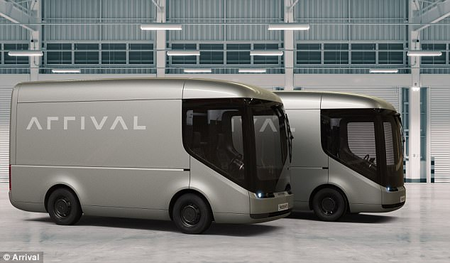 The firm will begin trials using 3.5, six and 7.5 tonne trucks from their Mount Pleasant depot in central London. Pictured are two of Arrival's electric vehicles
