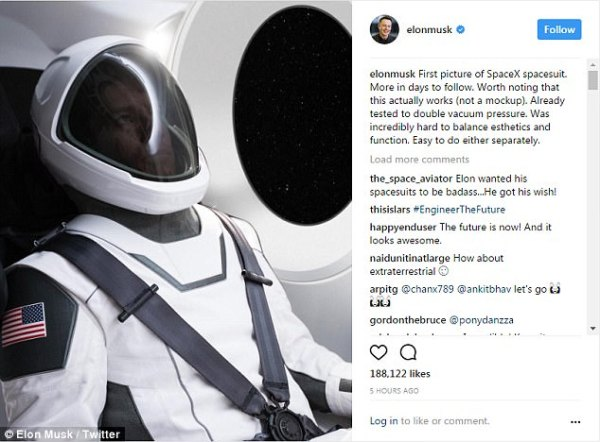 Elon Musk teases the first image of his space suit | Daily ...