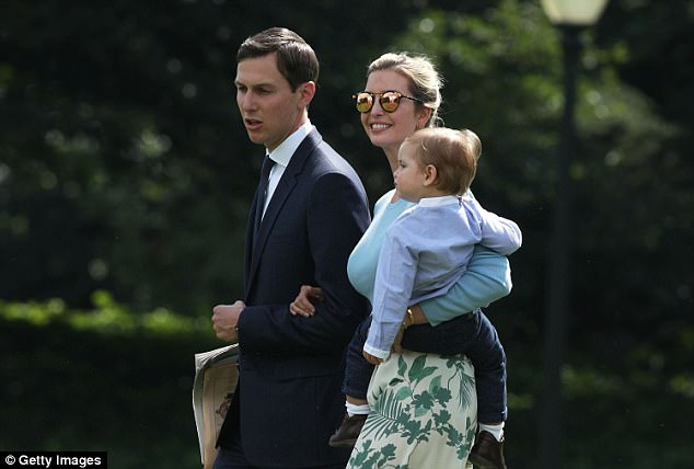 Ivanka Trump walks with husband Jared Kushner and son Theodore James Kushner towards the Marine One on the South Lawn of the White House prior to their departure