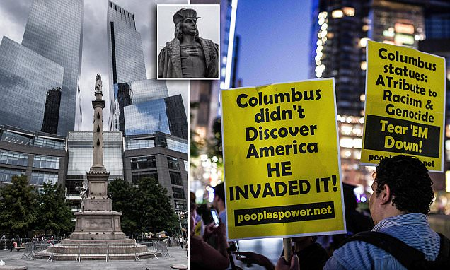 New York protests to remove statue of Christopher Columbus