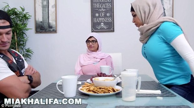 ISIS has taken issue with a scene, similar to the one pictured, from one of her videos showing her having sex while wearing a hijab, part of traditional female Muslim dress