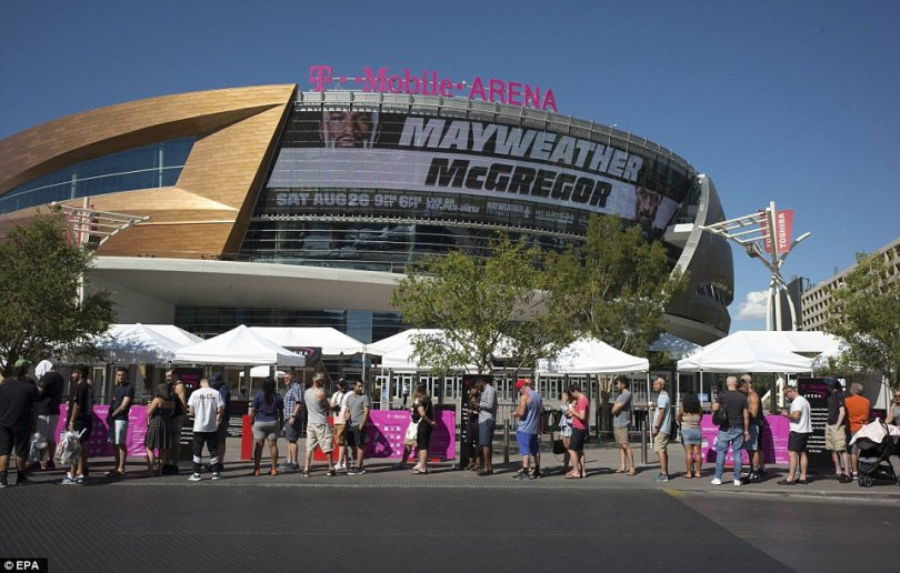 Excitement gathers pace in Las Vegas on Saturday as fans wait in line outside the T-Mobile Arena to purchase tickets