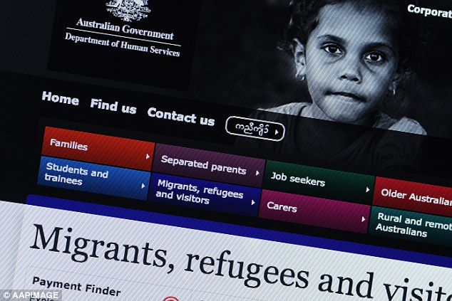 The move will slash $200-a-fortnight payments and public housing to up to 400 asylum seekers, forcing them to work or face being sent back to Nauru, Manus Island or their country of origin. Pictured, a generic image taken from the Australian Government's Department of Human Services website