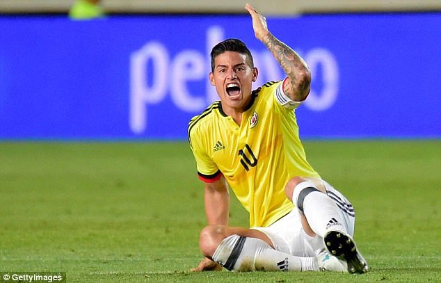 James Rodriguez has been ruled out of Colombia's World Cup qualifier against Venezuela