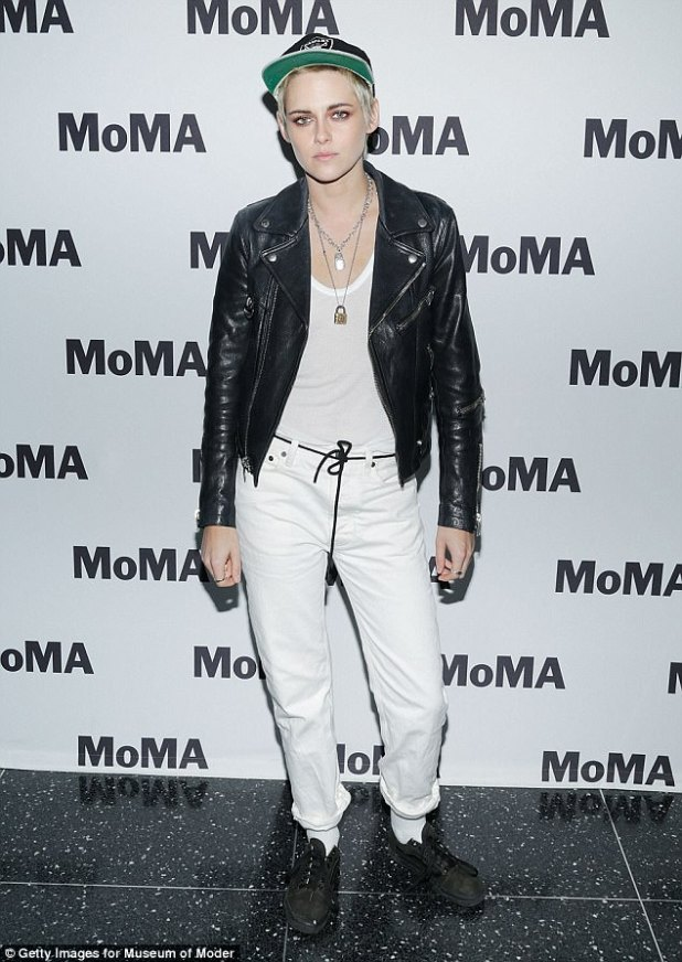 Rocker: Kristen Stewart, 27, attended the screening of her directorial debut Come Swim at MOMA on Wednesday