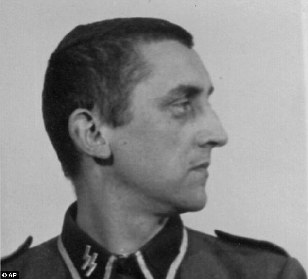 Side profile ofHubert Zafke with the Nazi SS logo emblazoned on his collar after he was arrested