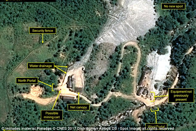 Overhead pictures of Punggye-ri nuclear test site from August 17, published by 38 North, revealed Kim Jong-un could order a test blast 'at any time with minimal advance warning', experts said