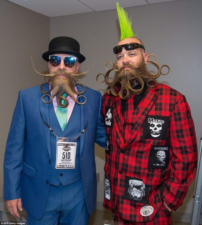 James McMahon (left) and John Banks (right) pulled out their best suits and beard styles for the occasion