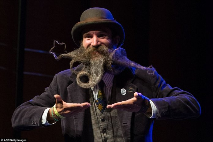 Greg Schoenwolf managed to style his beard into several star shapes for his big moment