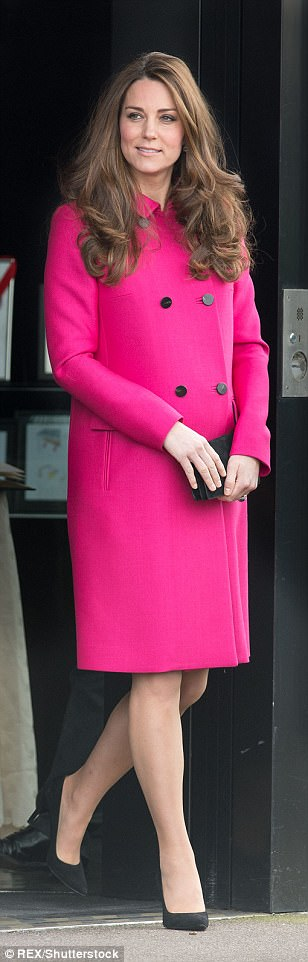 Statement fuchsia coat by Mulberry at eight months