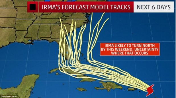 It's still unclear which direction Irma will turn as it approaches Florida. But most models show it hitting at least somepart of the state