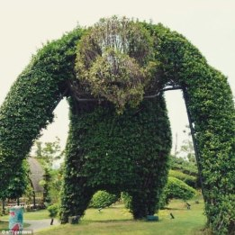 A monstrous beast looms over the rest of this garden, no doubt terrifying all visitors to the property
