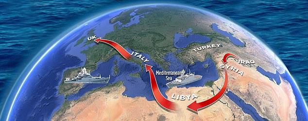 3. Como la ruta desde el norte de África a Italia es suave vientre de Europa: Con prácticamente nada para detener a los traficantes de personas que operan en Libia, el camino está abierto a los terroristas de todo Oriente Medio para pagar el paso en los barcos navegando hacia Italia, desde donde pueden desaparecer en cualquier parte de Europa