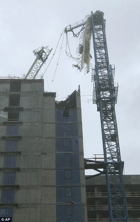 Irma tore down a construction crane atop a skyscraper high over Miami