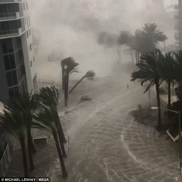 Parts of downtown Miami were left underwater by the storm surge and 110mph winds produced by Hurricane Irma