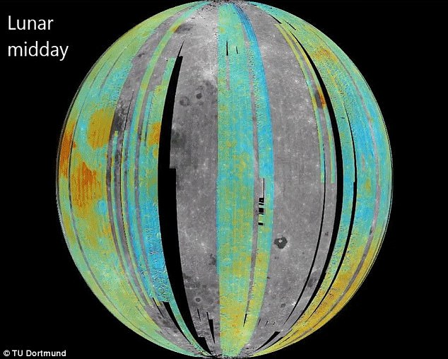 Researchers found there is water present across the whole surface of the moon, at all times of the day. This means there might be something else going on, like a reservoir of water lurking underneath the surface. Pictured is a map of water on the moon's surface around midday