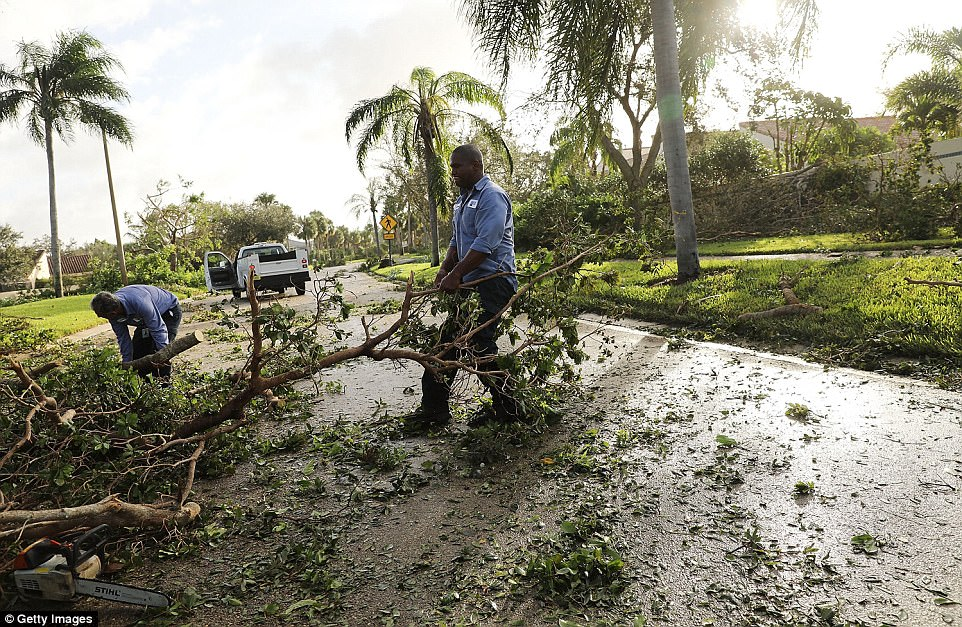 Men clear debris from a roadway the morning after Hurricane Irma swept through the area on September 11, 2017 in Naples, Florida