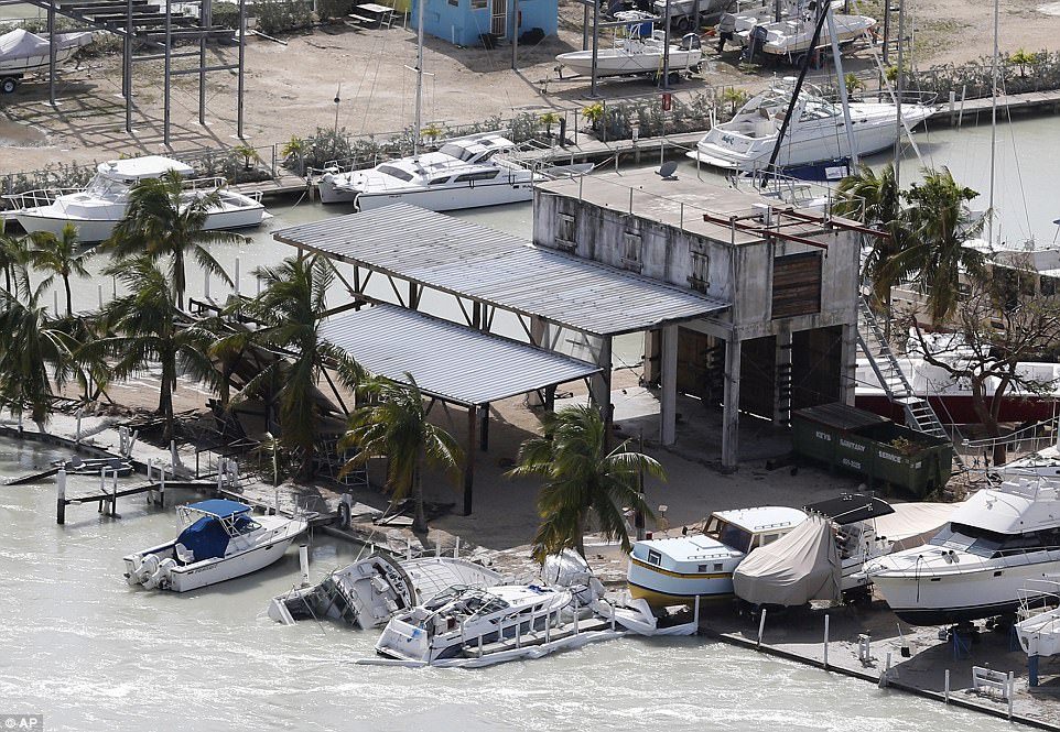 Floodwaters surround a marina in the aftermath of Hurricane Irma on Monday in Key Largo, Florida