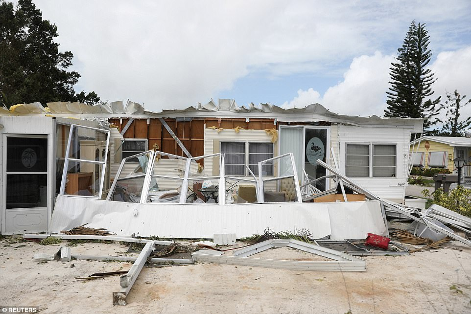 Property damage is seen at a mobile home park after Hurricane Irma in Naples, Florida, U.S. September 11, 2017