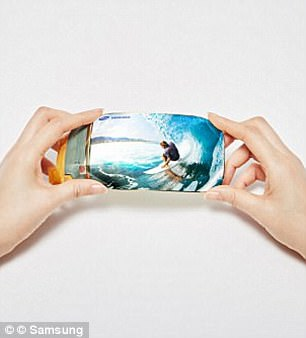 Pictured is an idea of what a foldable screen could look like