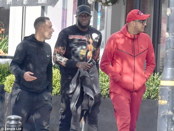 Manchester United striker Lukaku walked to lunch with two friends in the Cheshire sunshine