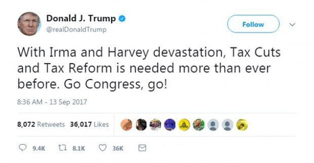 President Trump invoked the devastating hurricanes to make the case for tax cuts