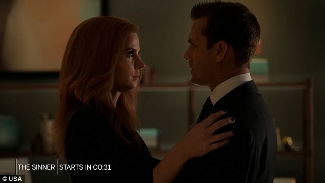 Tender moment: Harvey and Donna found themselves face to face